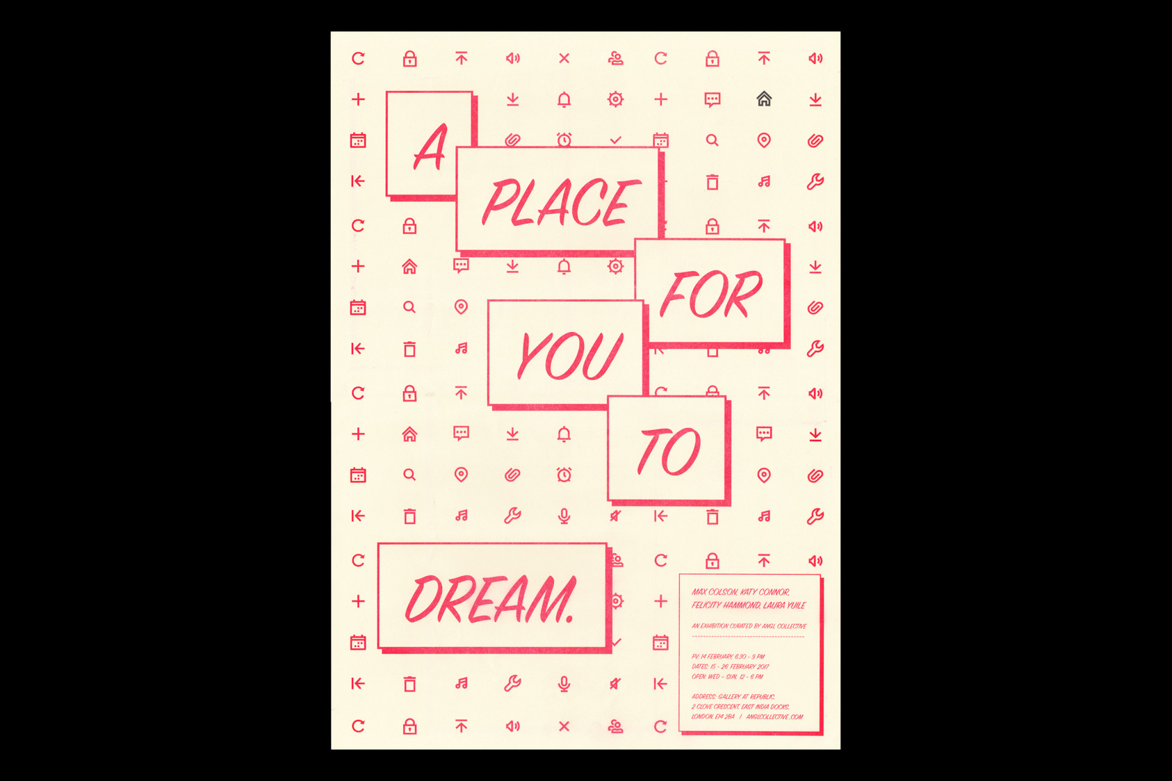 A place for you to dream - exhibition identity for Angl Curatorial Collective with poster and social media package, 2017 by the agency for emerging ideas