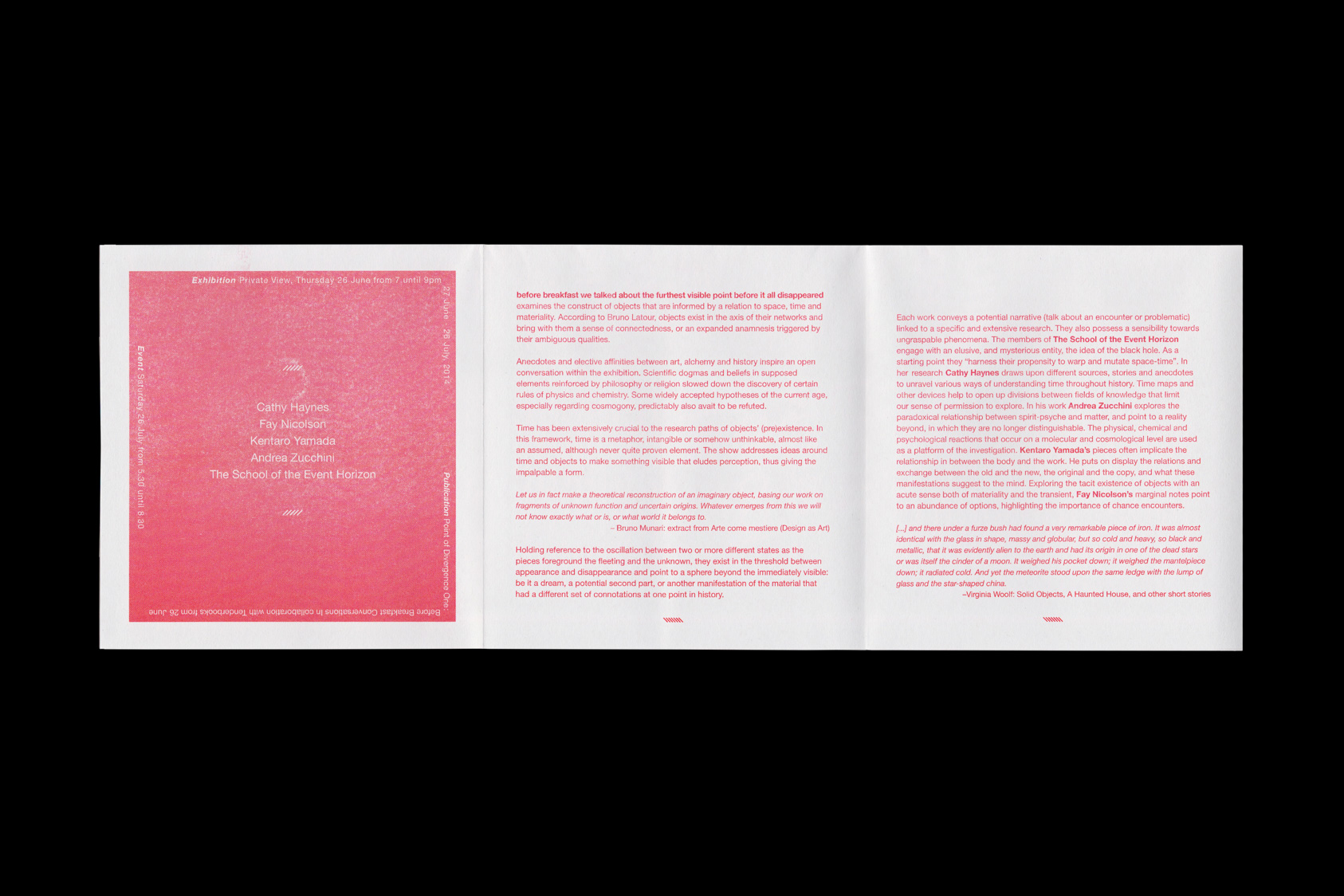 Before Breakfast We Talked About the Furthest Visible Point Before it all Disappeared - exhibition handout for Tenderpixel, 2014 by the agency for emerging ideas